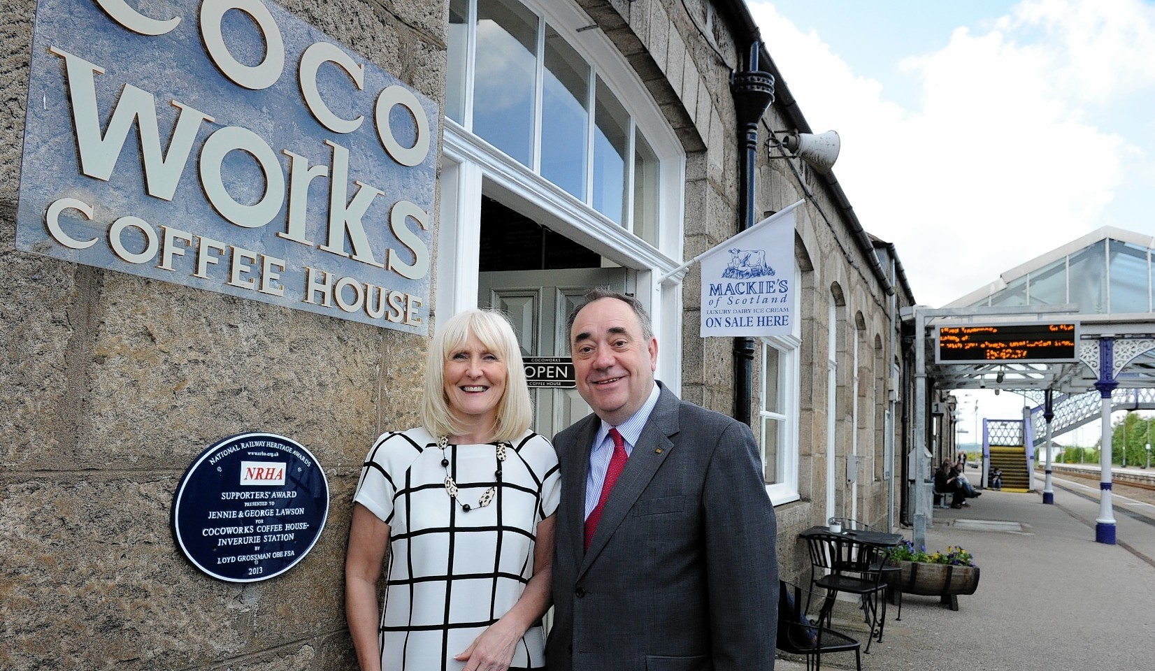 Alex Salmond with Jennie Lowson at the opening of the Coco Works, Train Staion, Inverurie