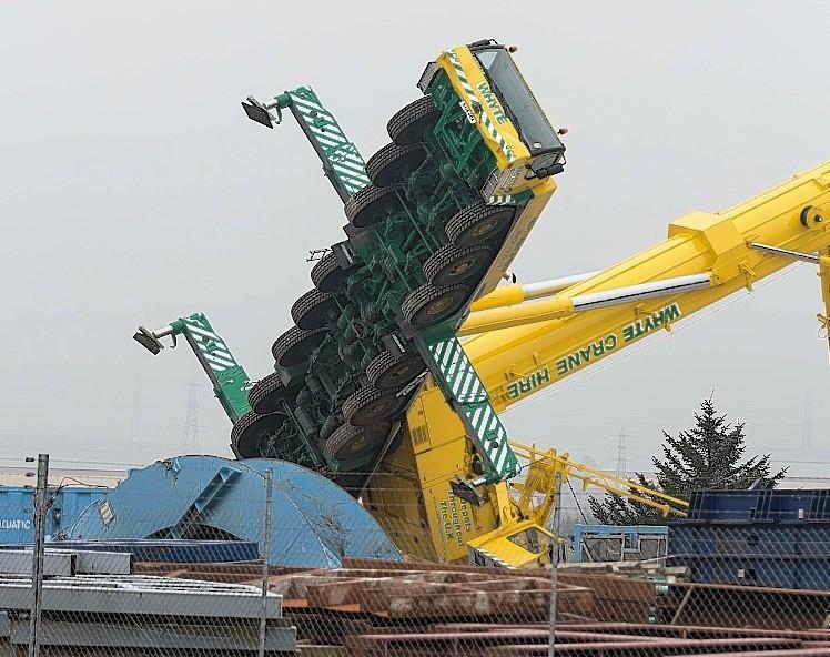 The stricken crane at Peterhead