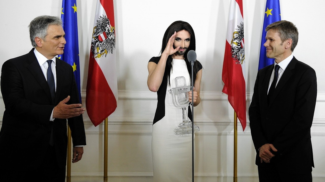 Austrian singer and Eurovision Song Contest winner Conchita Wurst at the federal chancellery in Vienna