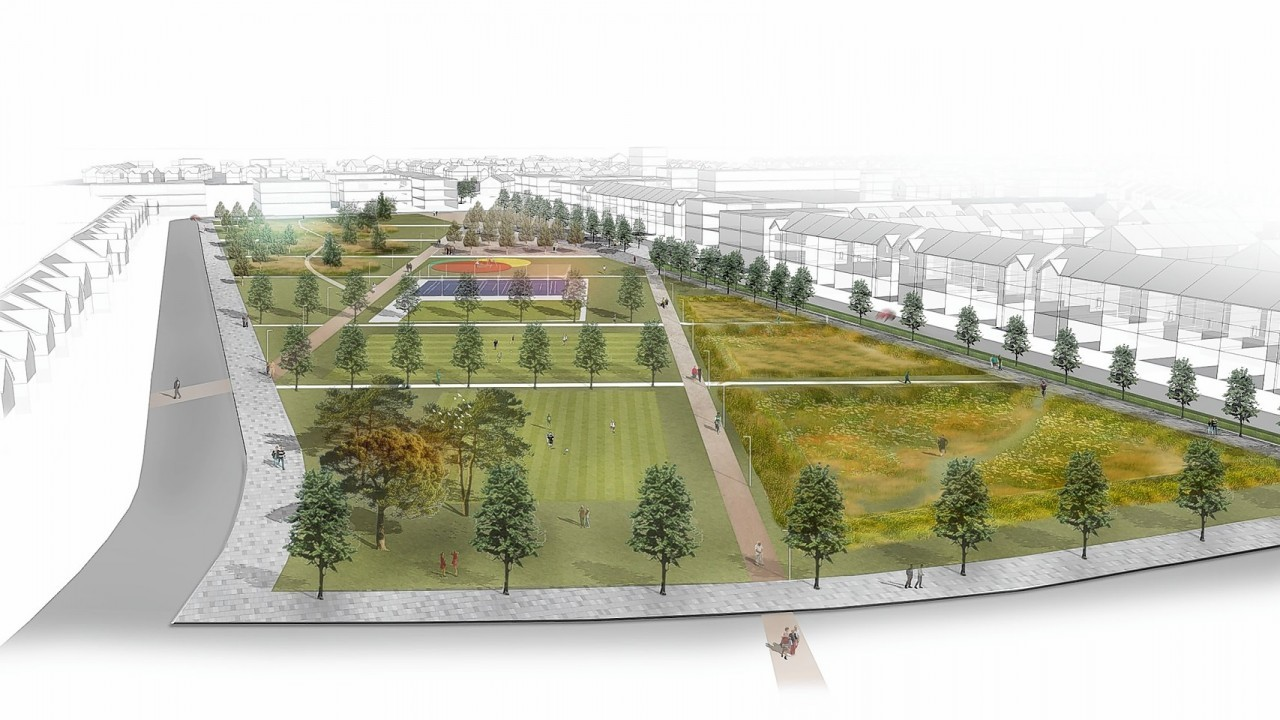 An artist impression of plans for the development of a new town just outside Aberdeen