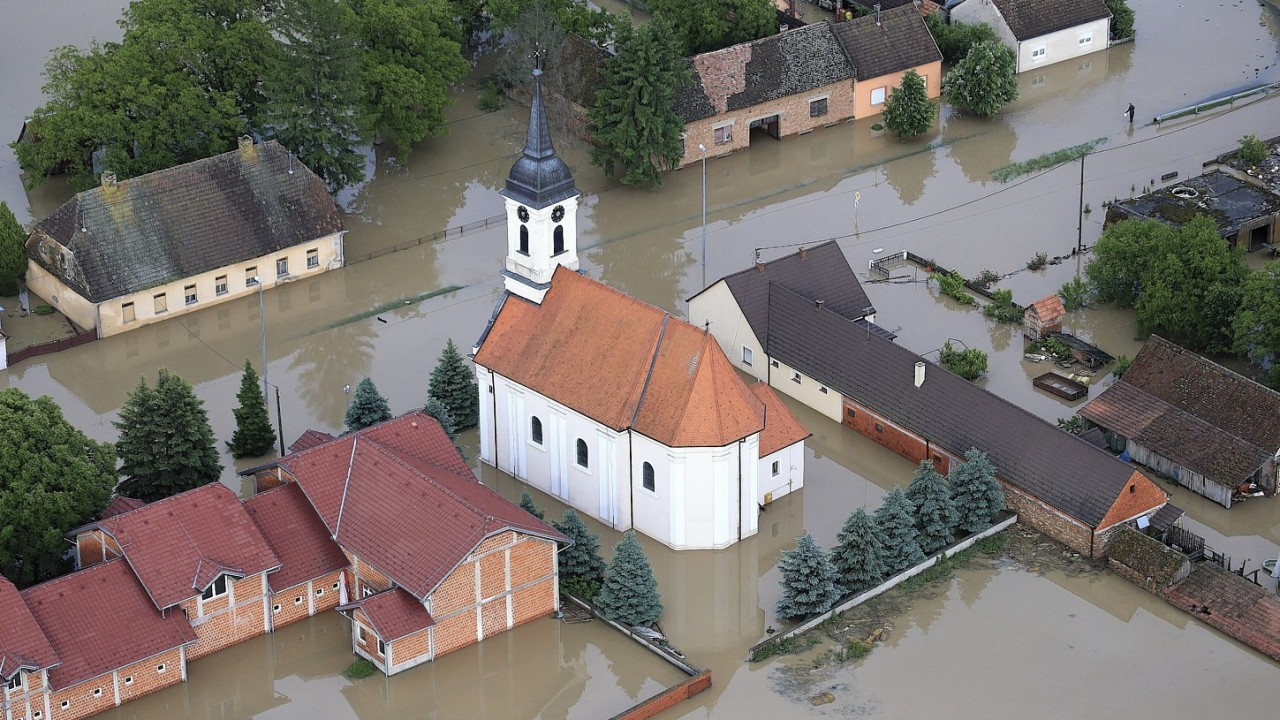 flooding waters cover  the village of Gunja, eastern Croatia. Three months' worth of rain fell on the Balkan region in three days, producing the worst floods since rainfall measurements began 120 years ago
