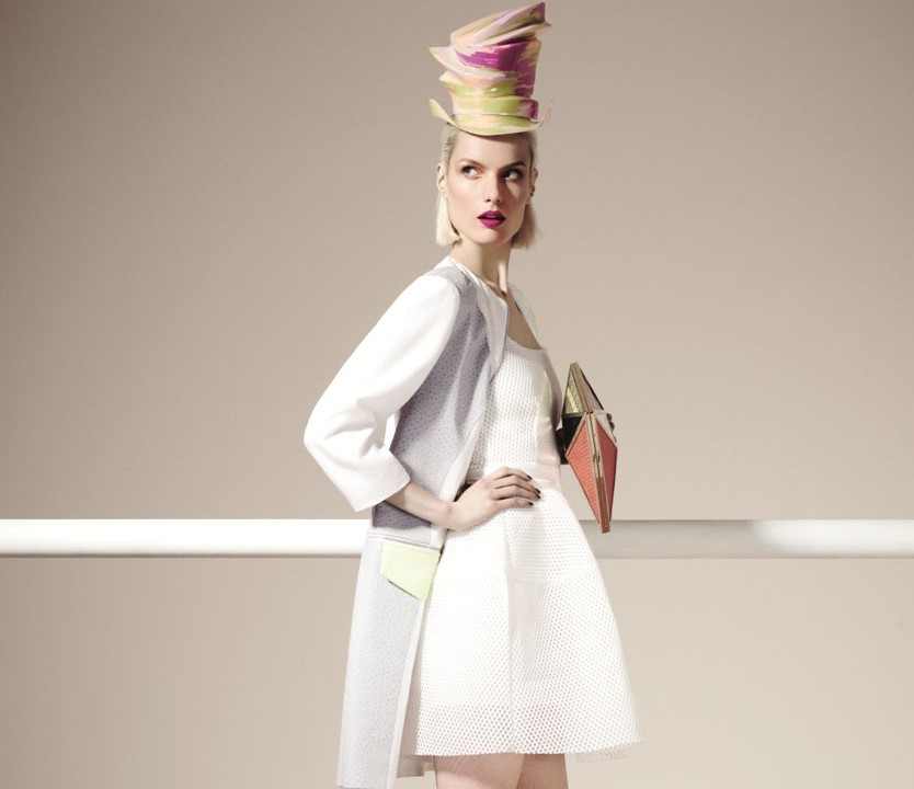 Maje white Dress , £160, Stephen Jones hat – 6 Staccato £1,260Ashtiani (Coat) - £551.75 Jimmy Choo Bag - £2,295