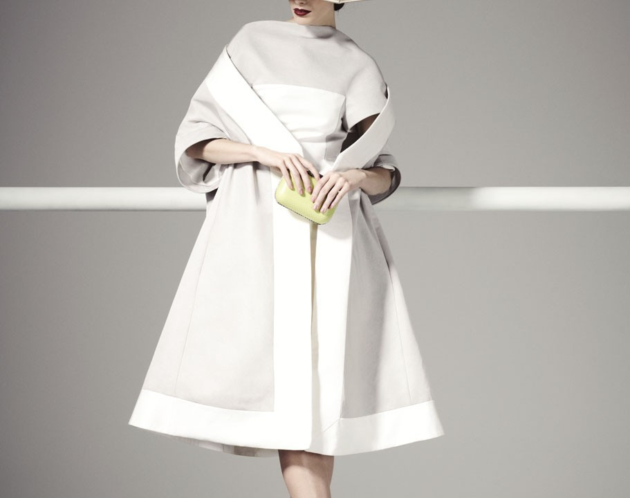 Gareth Pugh dress and coat – Price on request – Selfridges Jimmy Choo bag - £1395, Sophie Beale Millinery – Strunz hat - £595