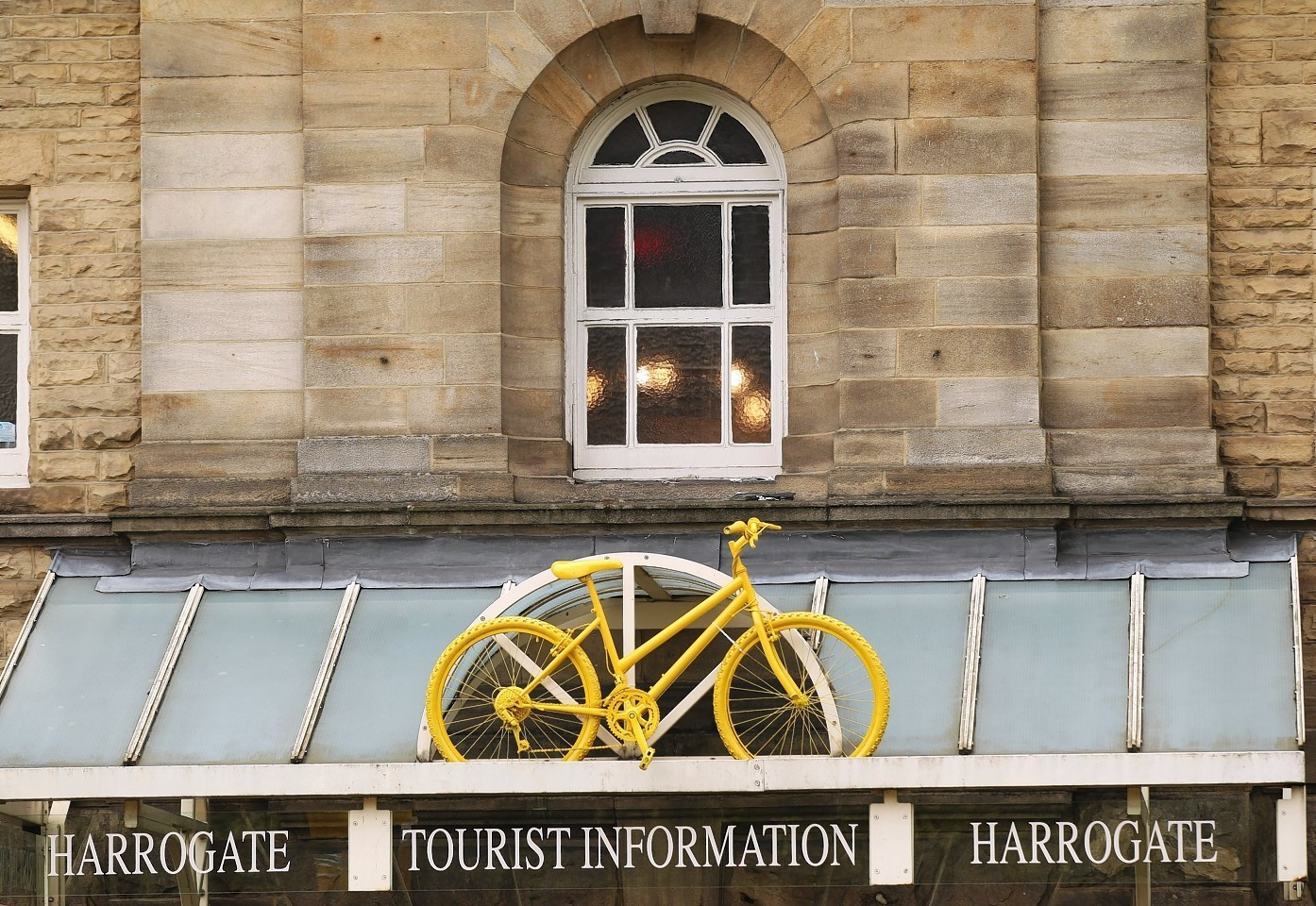 Yellow bikes on display around Harrogate ahead of the Tour de France which passes through in July, as Harrogate has been crowned as the happiest place to live in Britain in a report which asked people how contented they are with their home and local community