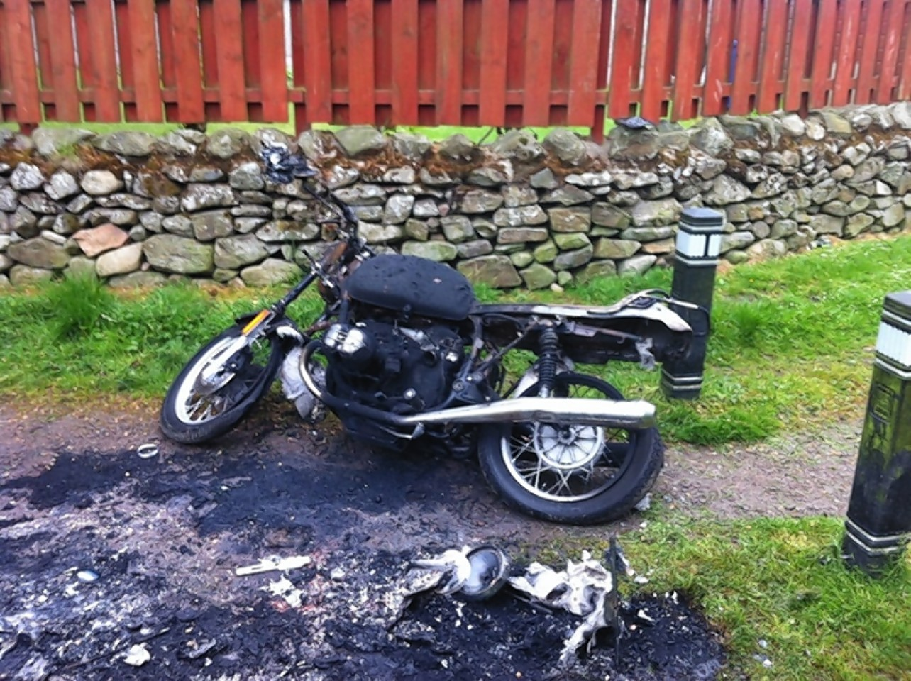 The motorbikes were left burned out on the path