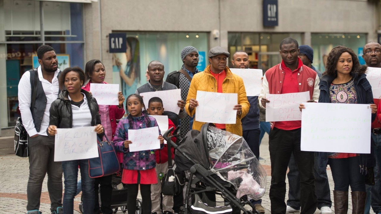 People turned out in numbers outside Marks and Spencer in Aberdeen in support of the missing school girls in Nigeria, pictures by Stanley Wright