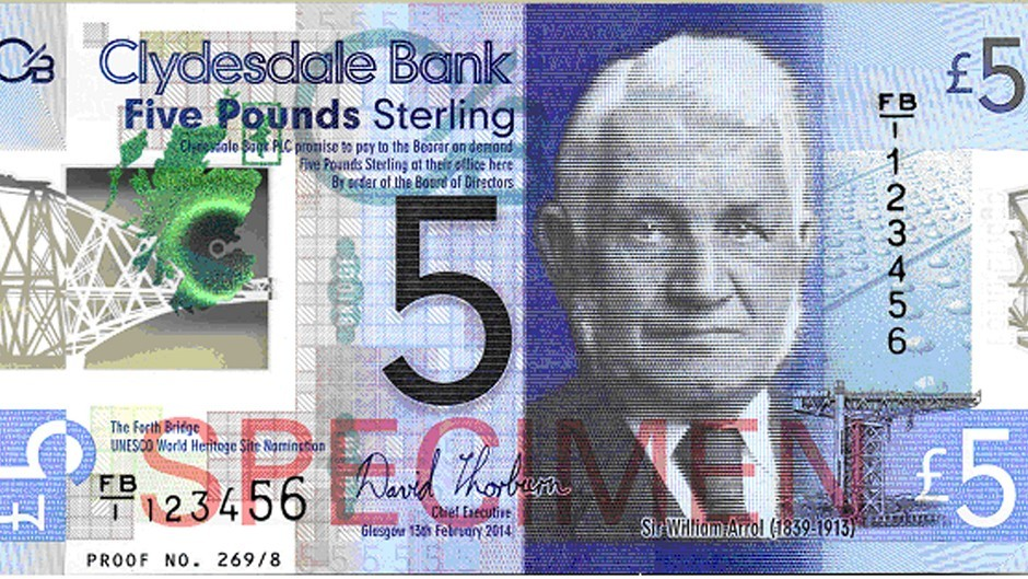 A plastic Clydesdale Banknote which will enter circulation next year to mark the 125th anniversary of the Forth Bridge (Clydesdale Bank/PA)