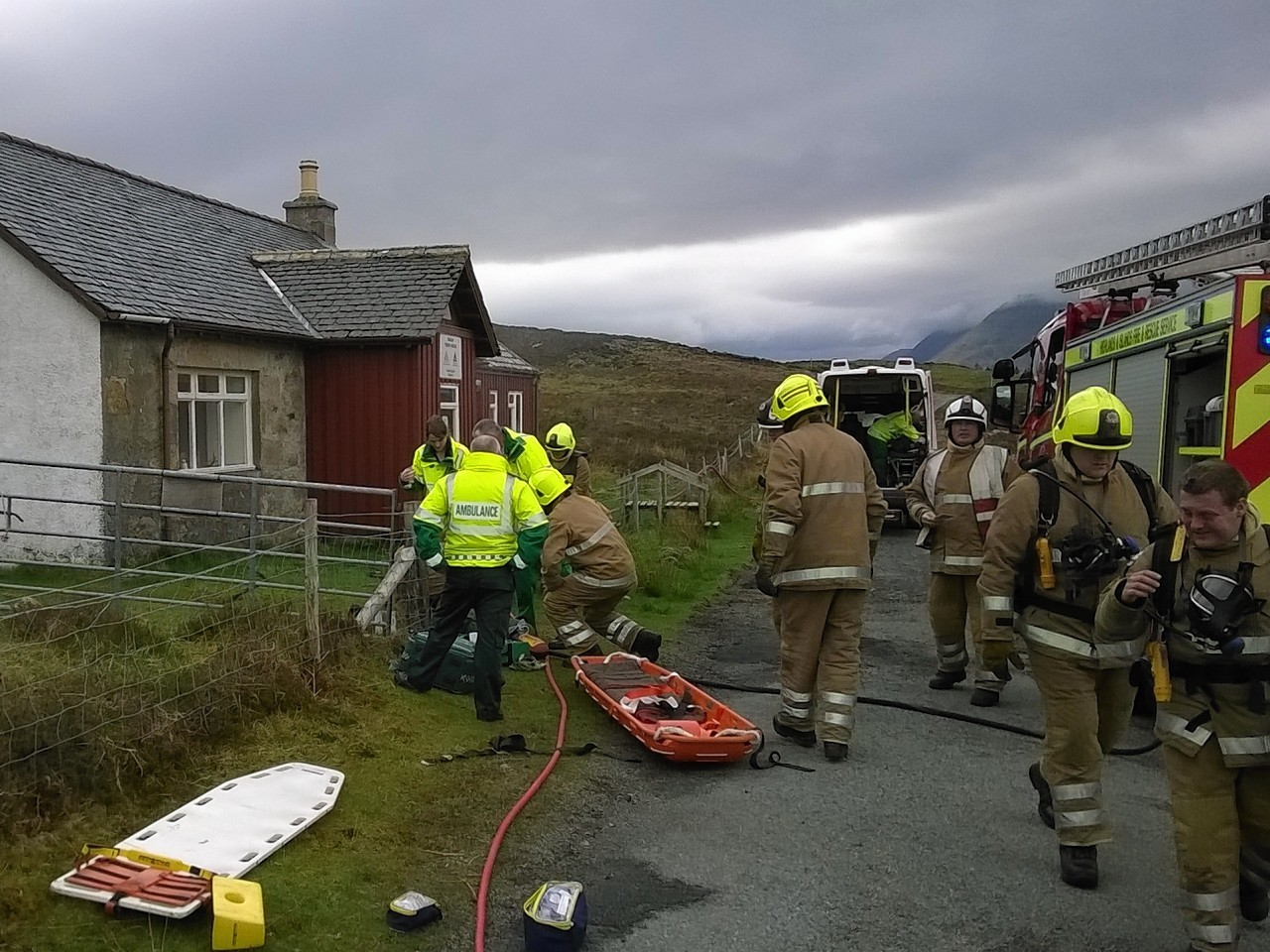 Skye firefighters taking part in a training exercise