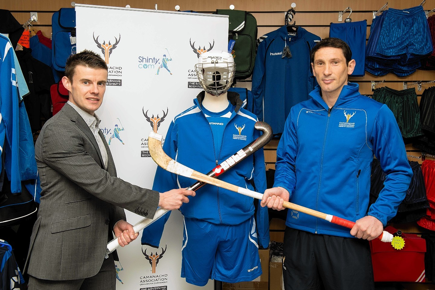 Colin Hill, director of Gilmour Sports, and Ronald Ross MBE, coach of the Scotland shinty team.