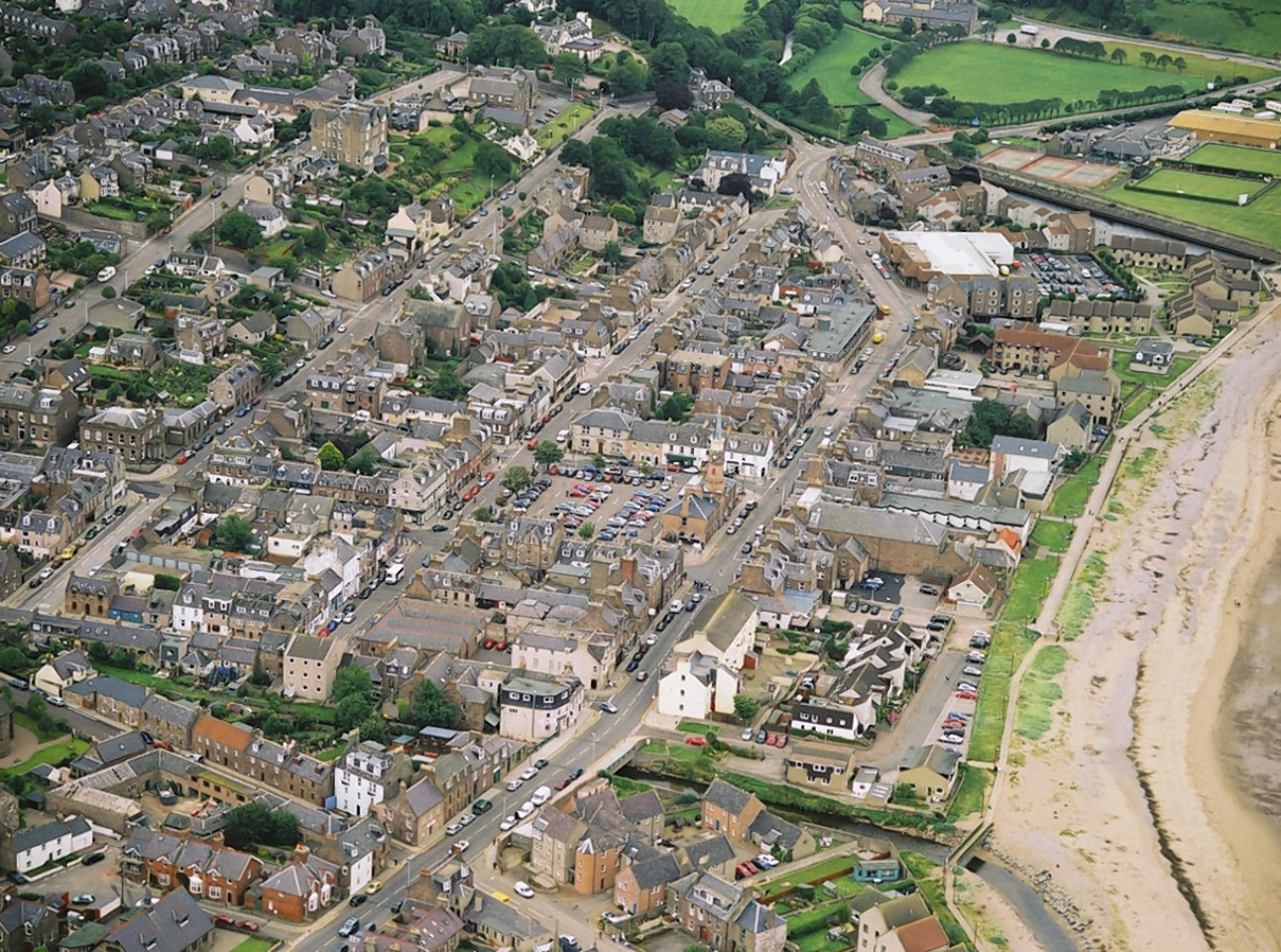 An aerial view of Stonehaven