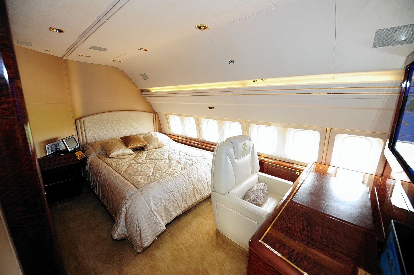 A double bed on Donald Trump's luxury jet