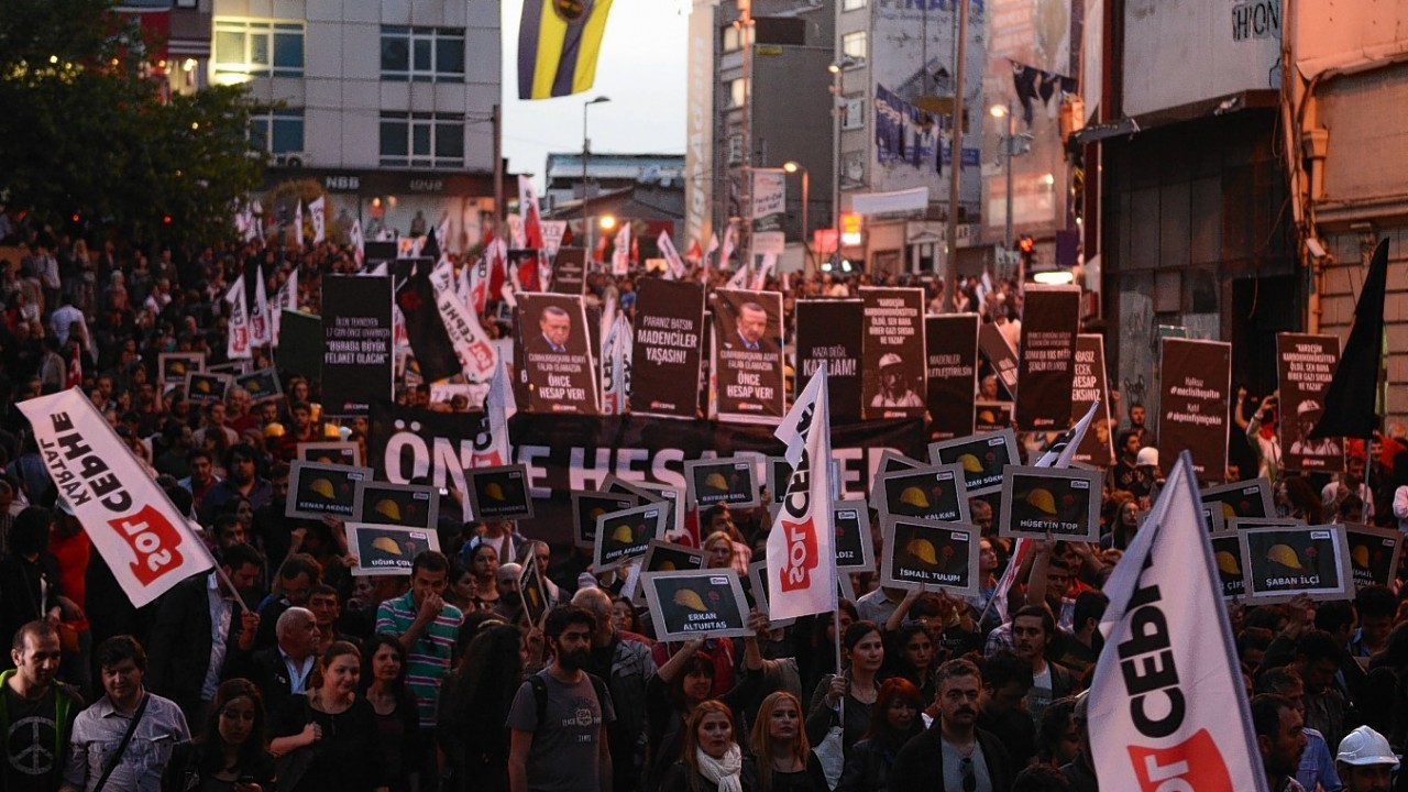 Thousands of protesters march to condemn the Soma mine disaster and government's labor policy, in Istanbul,