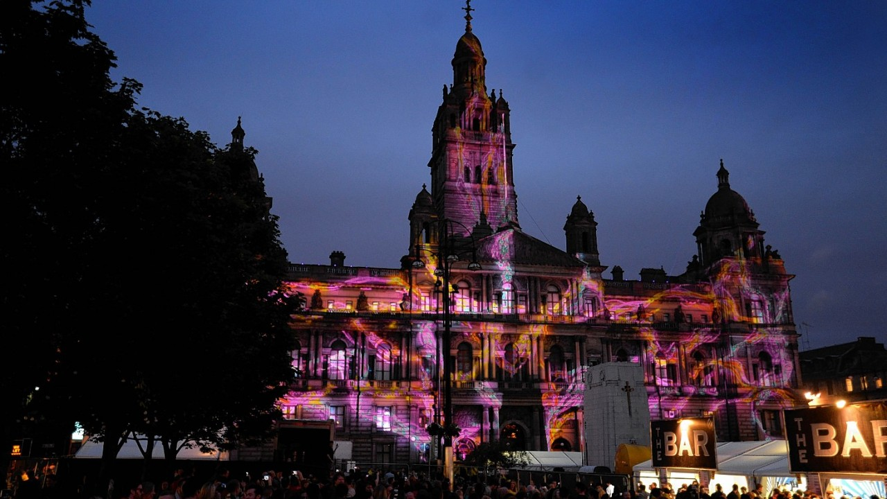 Projections on the front of Glasgow City Chambers during Radio 1's Big Weekend at Glasgow Green, Glasgow
