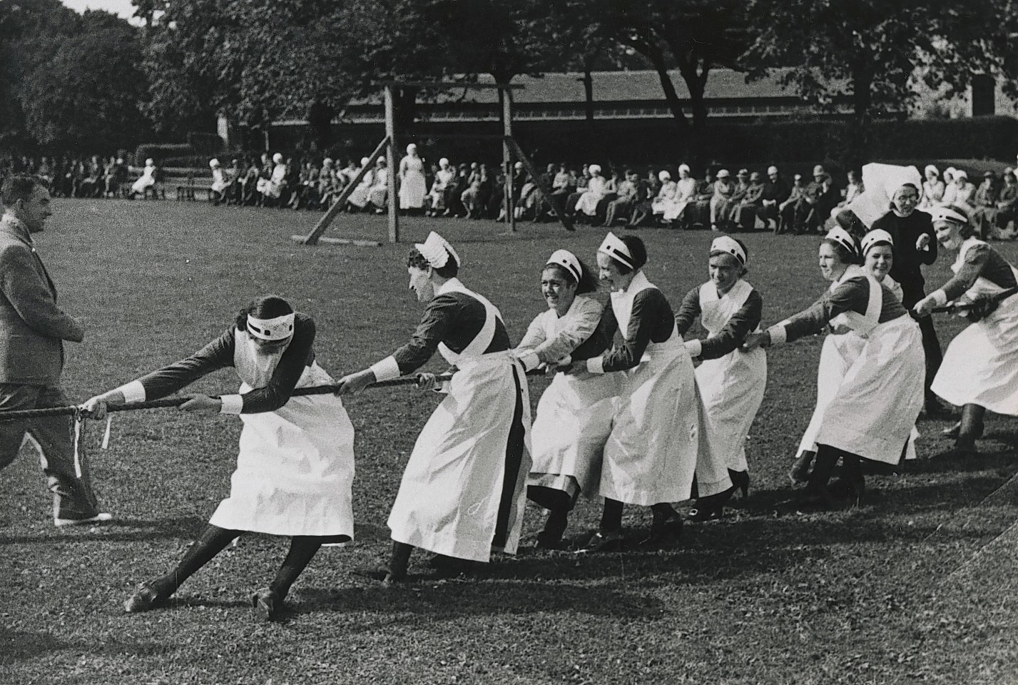 Nurses taking part in a sports day at Cornhill in the 1930s