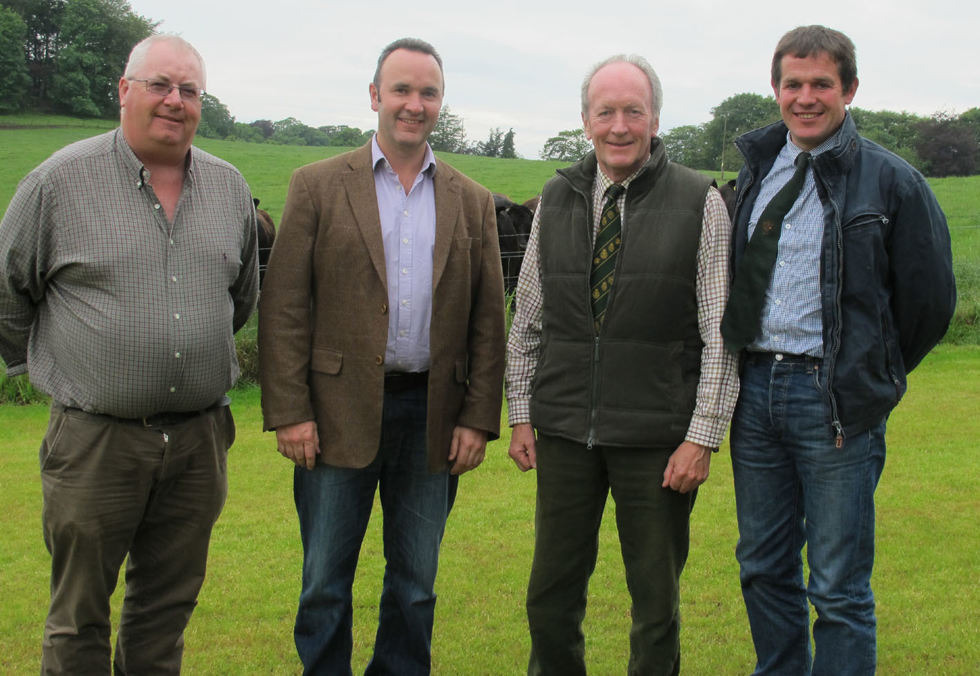 Beef event host farmer, Peter Alexander (second right) and his son, Murray (second left), with SBA vice-chairman, Jim Stewart (left) and event convener, Robert McNee
