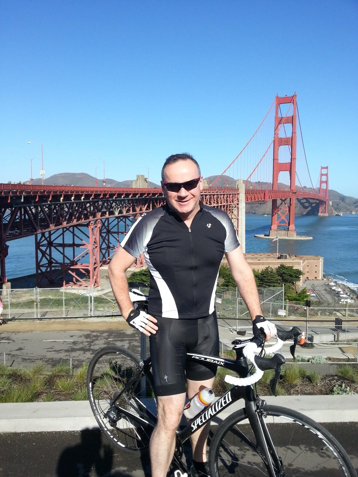 Giles Hamilton by San Franciso's Goden Gate bridge