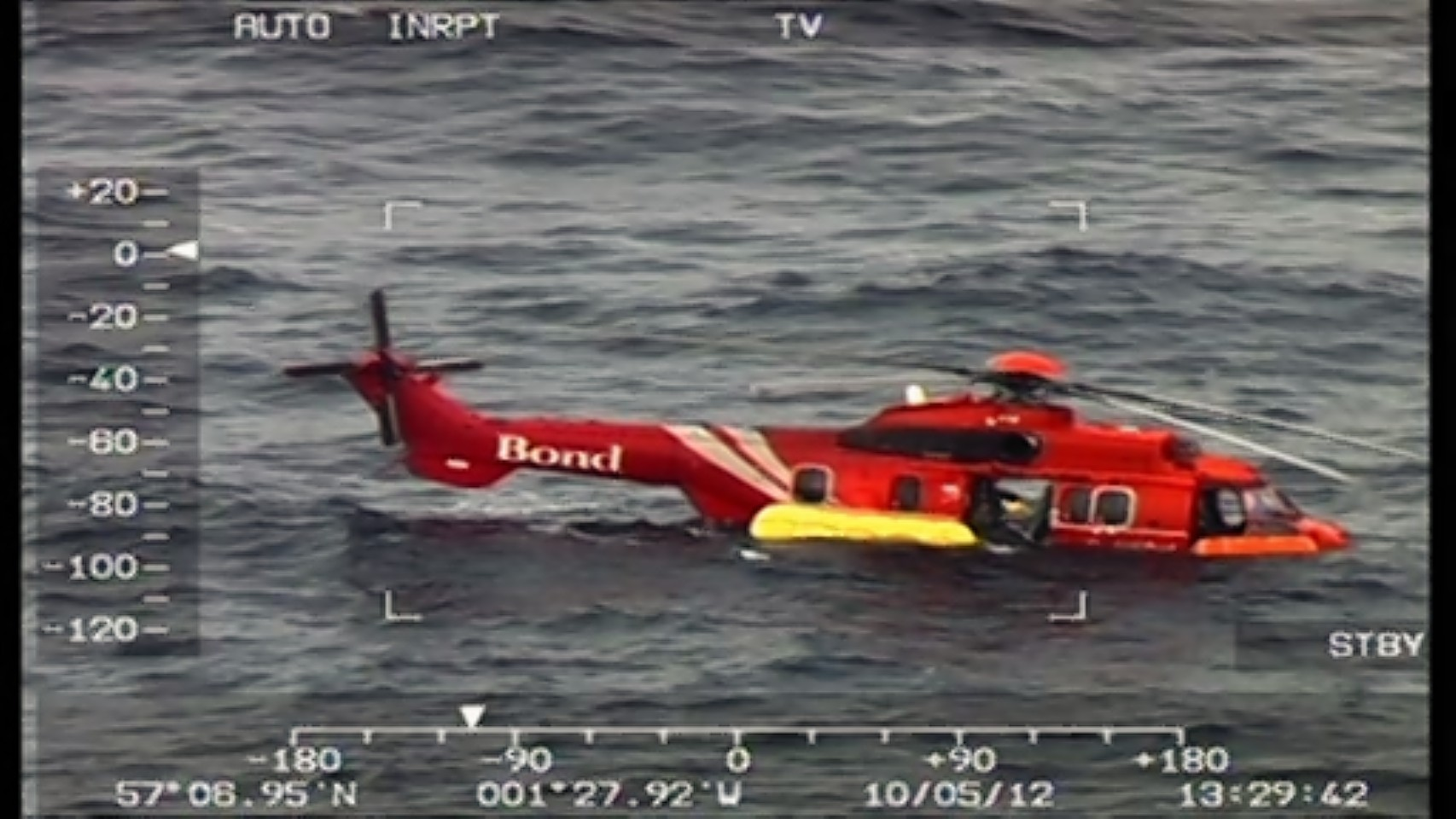 The downed Bond EC 225 Super Puma helicopter in the North Sea around 30 miles off the coast of Aberdeen