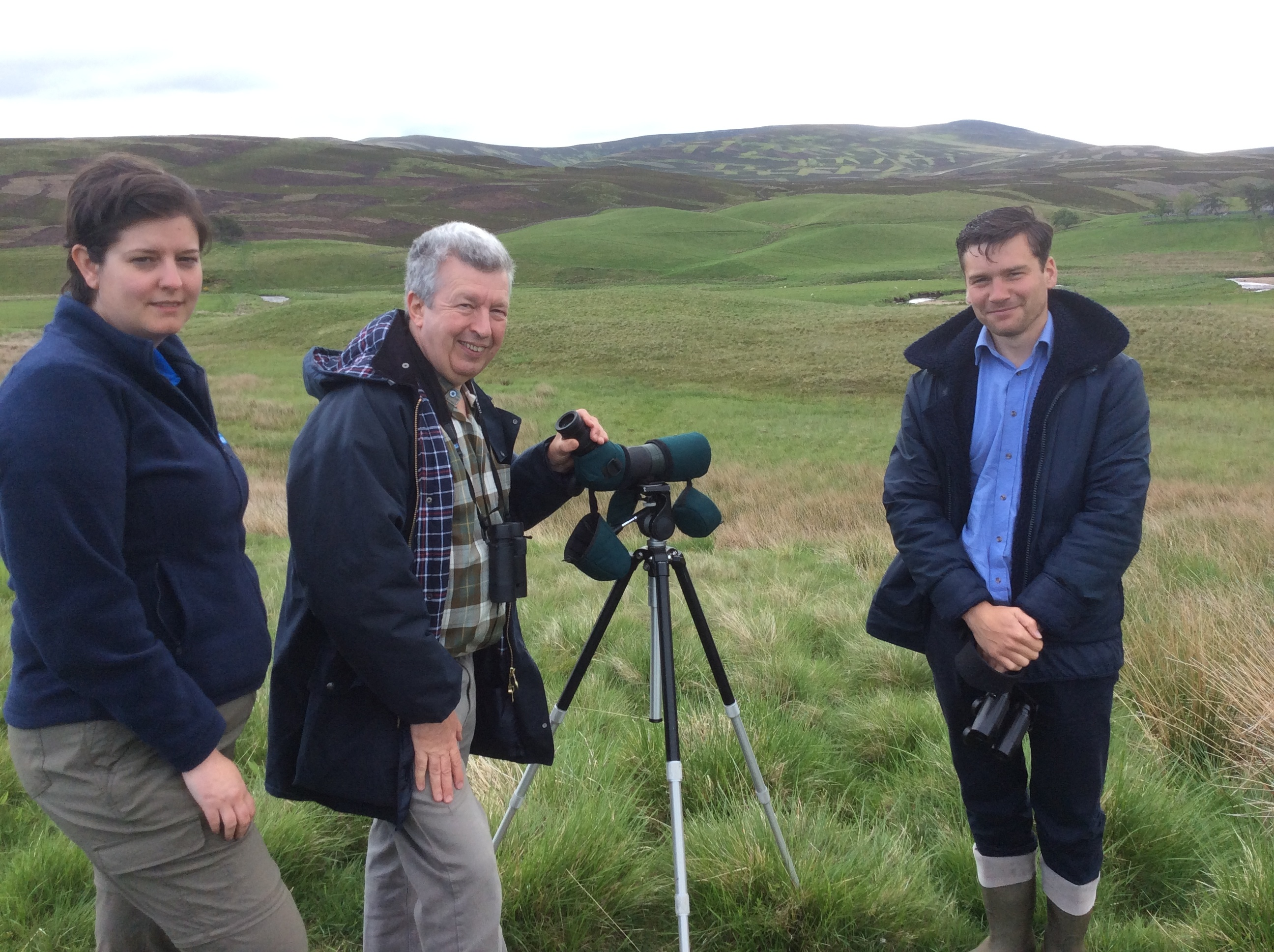 Lewis Macdonald MSP with RSPB Scotland's Jenny Lennon and Thom Quinn