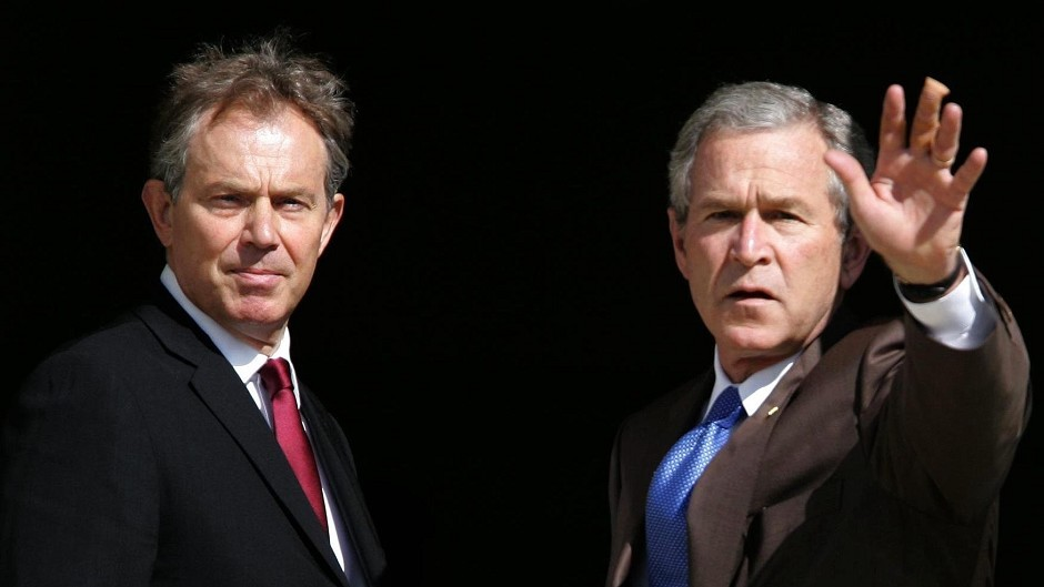 Former Prime Minister Tony Blair, pictured with George Bush