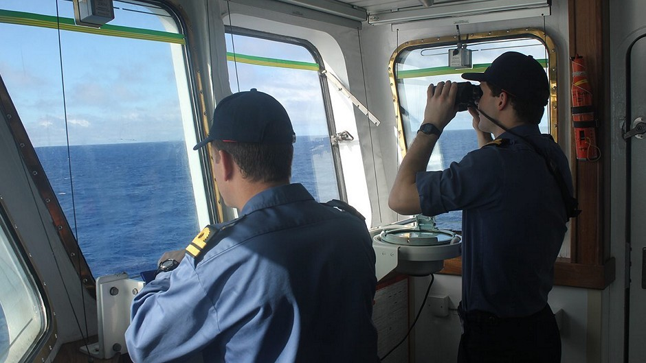 The crew on board survey ship HMS Echo during the major underwater search for missing Malaysia Airlines flight MH370 (MoD/PA)