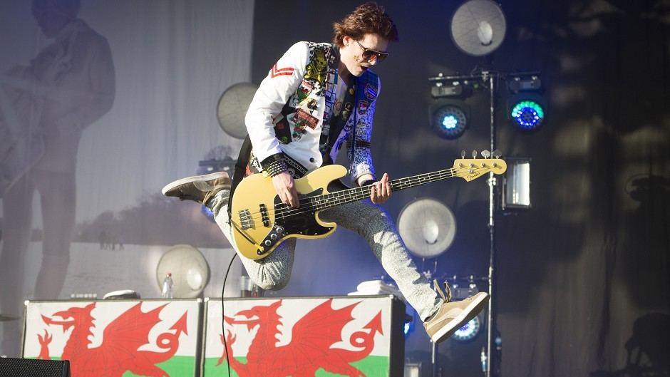 Nicky Wire of the Manic Street Preachers performing at the Glastonbury Festival