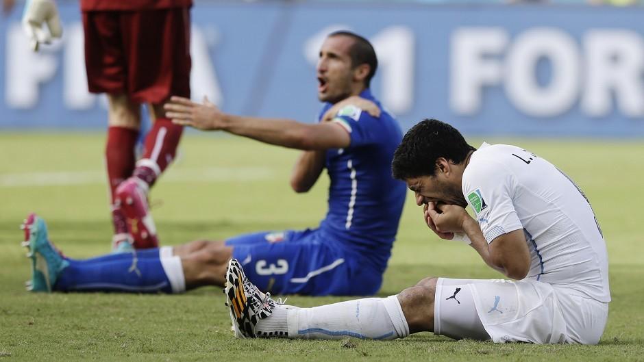 Italy's Giorgio Chiellini accused Luis Suarez of biting him during the contest (AP)