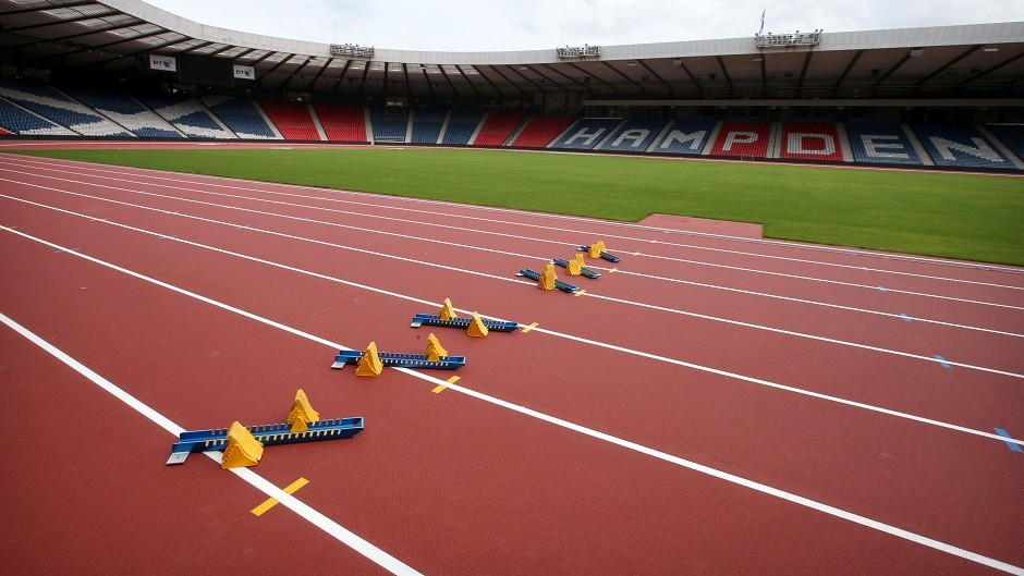 A general view of the track as Glasgow 2014 reveals the  athletics arena following the transformation of Hampden Park
