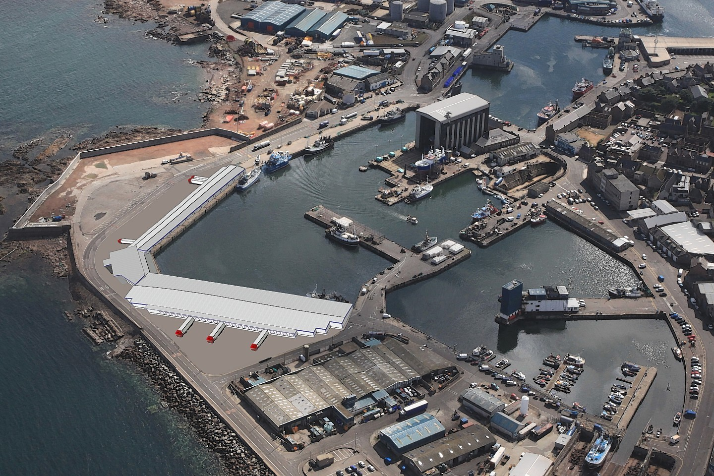 Peterhead harbour and the new buildings planned for it as part of a £500million expansion
