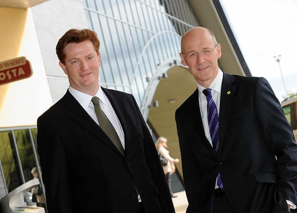 Danny Alexander and John Swinney together outside the AECC