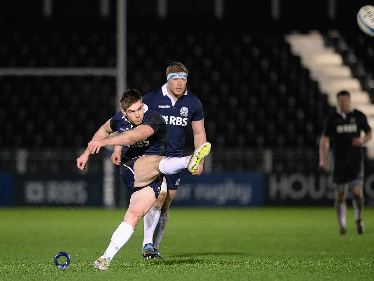 Tom Heathcote kicking for Scotland A