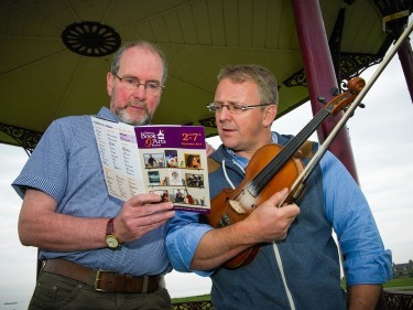 David Godden, Chair of the Nairn Book and Arts Festival,  and BBC Radio Scotland's Bruce MacGregor