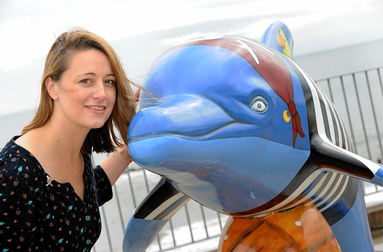 One of the life-sized fibreglass bottlenose dolphins