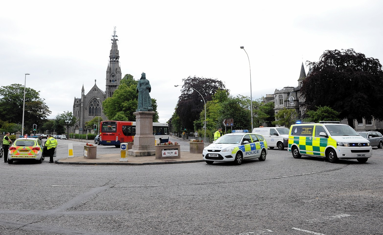 The scene of the incident at Queen's Cross, Aberdeen