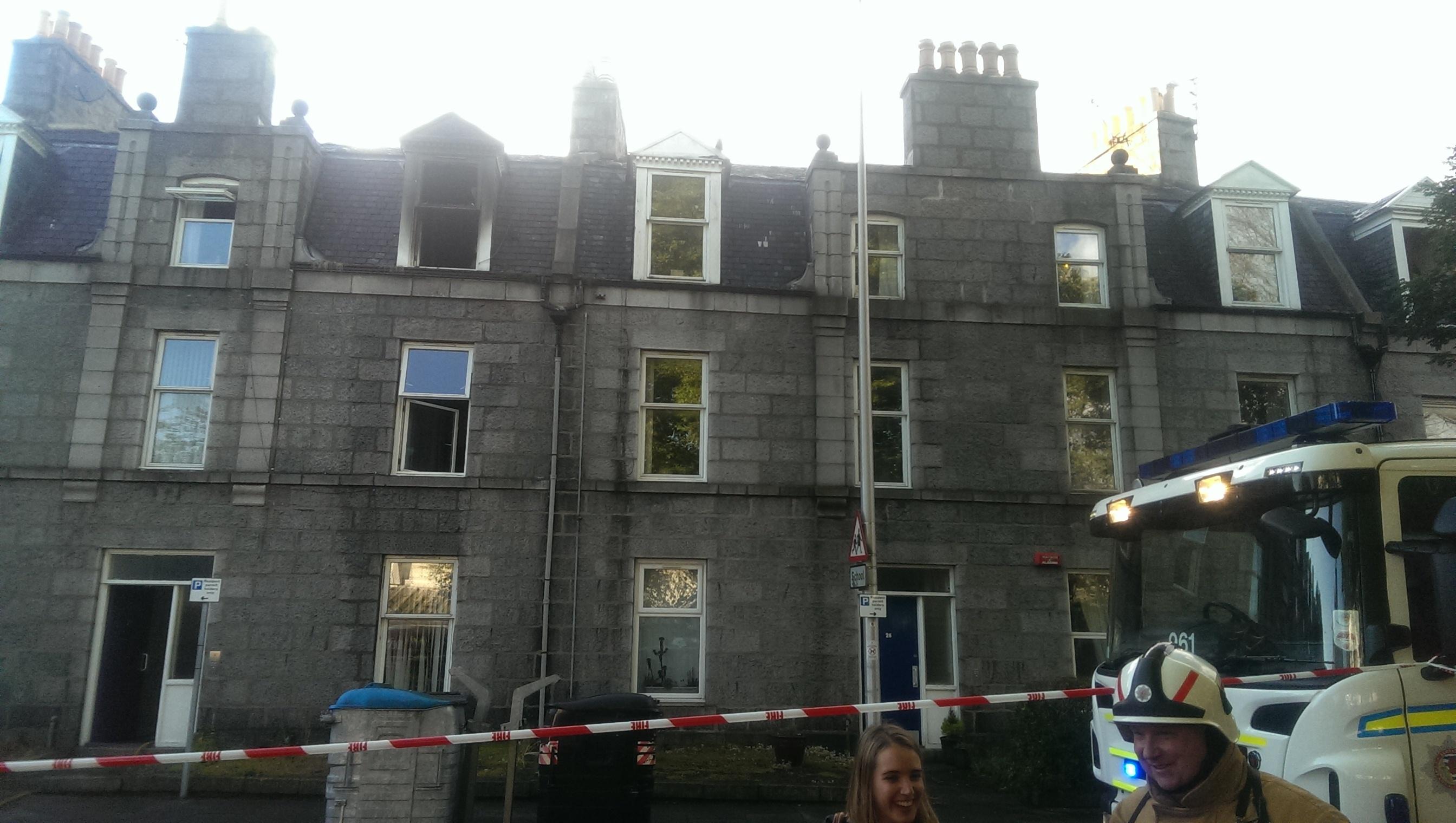 Flat fire on Whitehall Place, Aberdeen