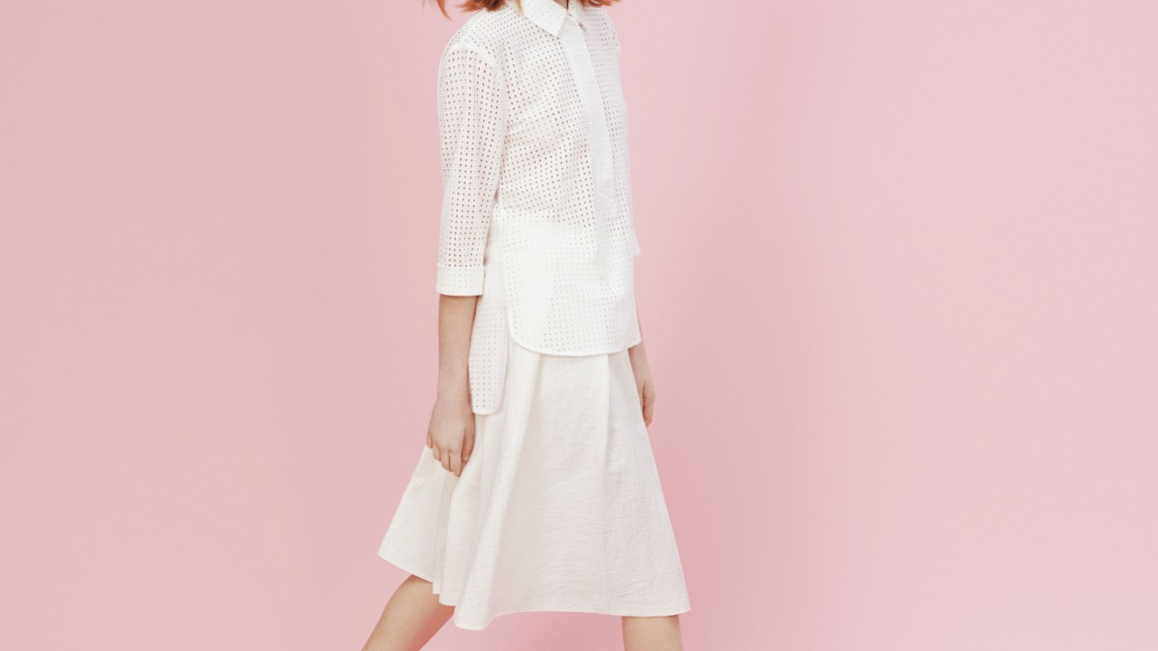 Madelyn shirt £50, Aubree skirt £39, Selma sandals, £129, all Hobbs