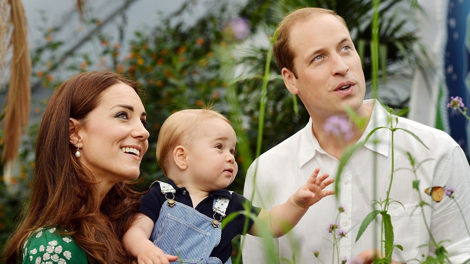 Prince George celebrates his birthday with the  Duke and Duchess of Cambridge and the Prince during a visit to the Sensational Butterflies exhibition at the Natural History Museum, London.