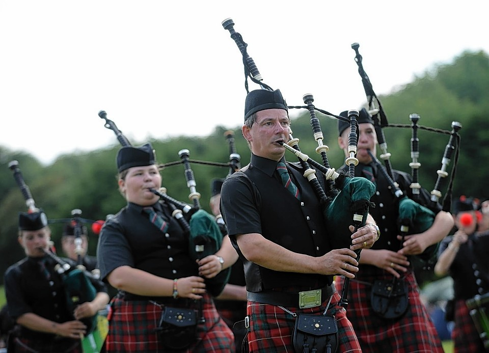 Portlethen Pipe Band performing at the Stonehaven Highland Games