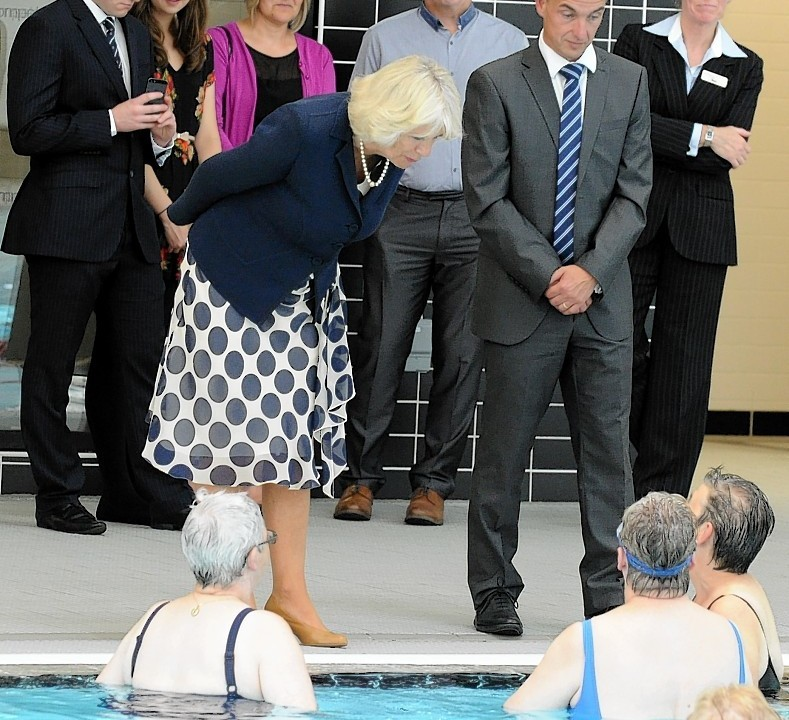 The Duchess of Rothsay, chancellor of Aberdeen University visits the opening ceremony of Aquatics centre, Sports village, Aberdeen.