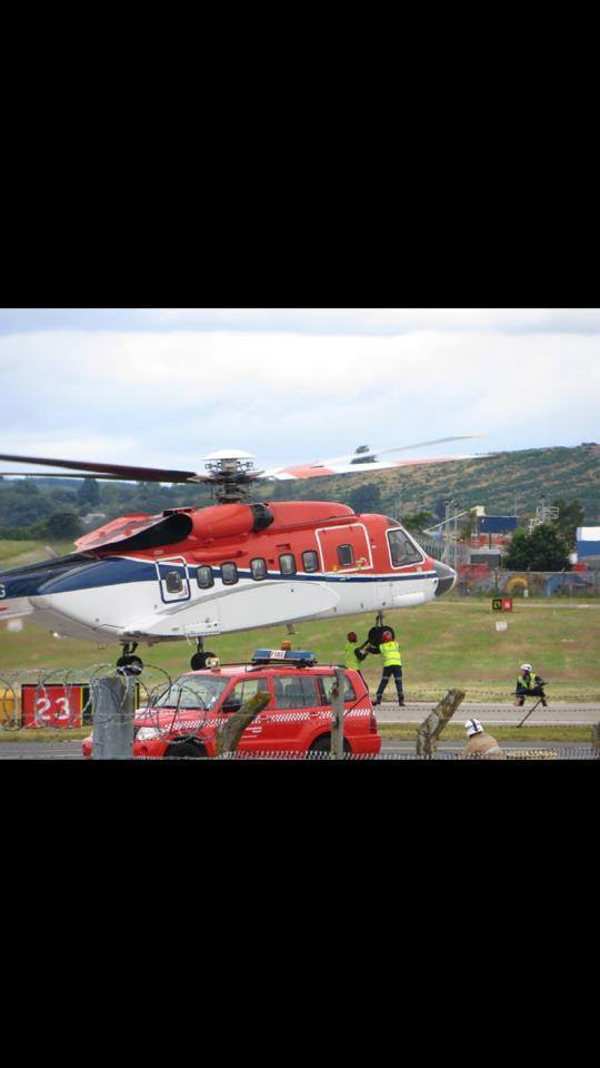 The image which shows ground staff assisting the helicopter