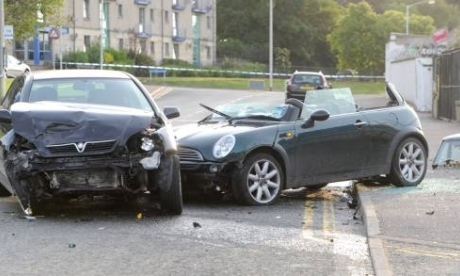 A road accident in Torry, Aberdeen.