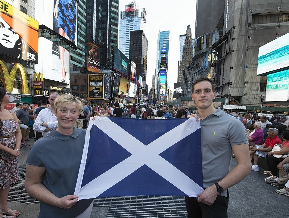 Amanda Brown of Scotland Food and Drink and Jeff Lawrie of J. Lawrie and Sons fly the flag for Scotland in New York