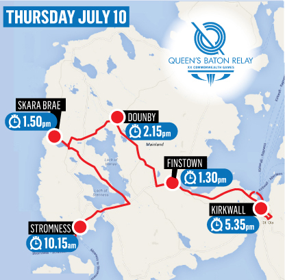 Map of the Baton relay route through Orkney