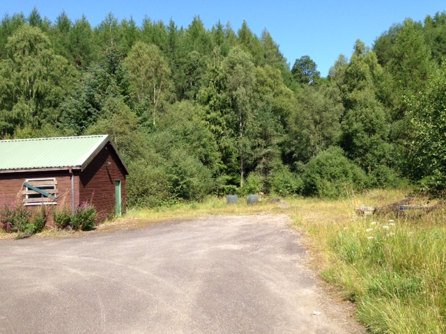 The Old Forest Depot and woodland near Invergarry Community Hall