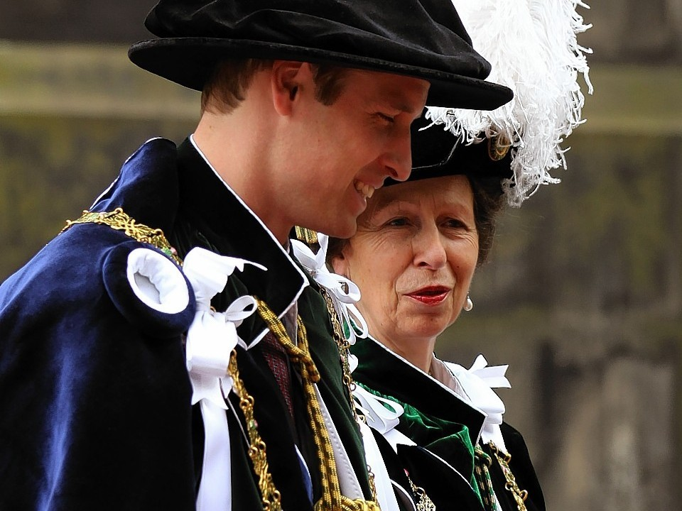 The Princess Royal and the Duke of Cambridge arrive at St Giles' Cathedral in Edinburgh as they attend the Thistle service
