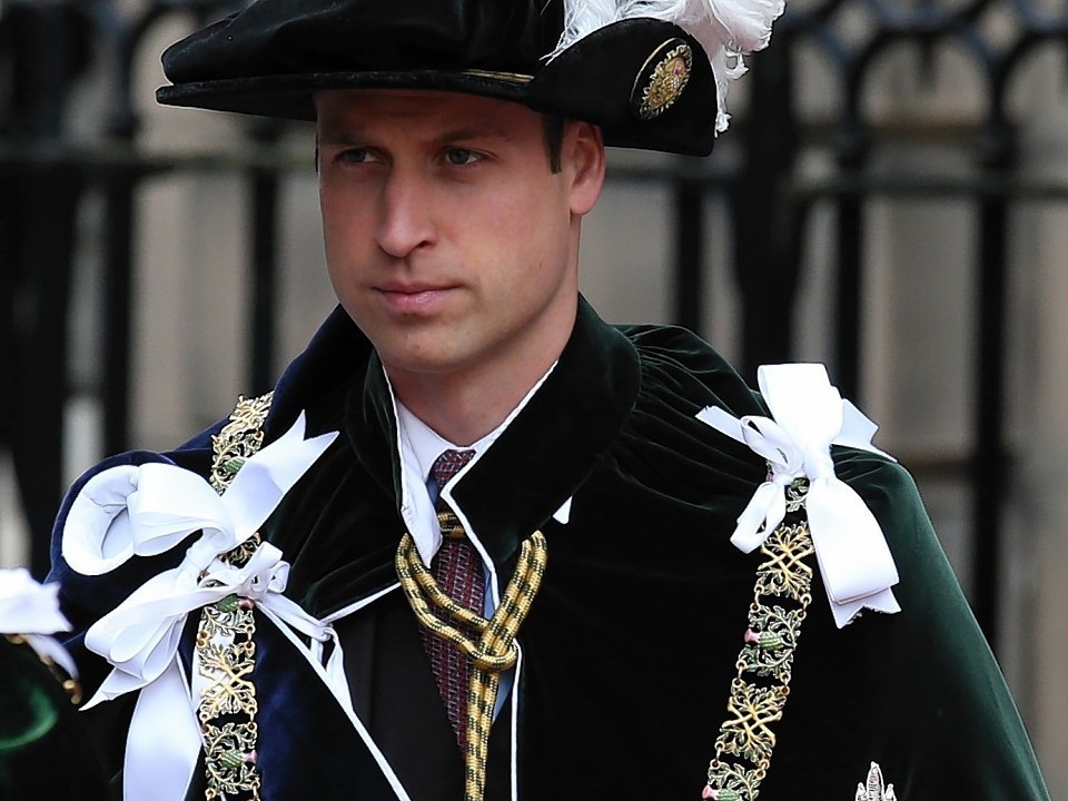 The Duke of Cambridge at St Giles' Cathedral in Edinburgh as he attends the Thistle service.