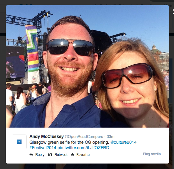 Glasgow 2014 selfie by Andy McCluskey via Twitter (‏@OpenRoadCampers)