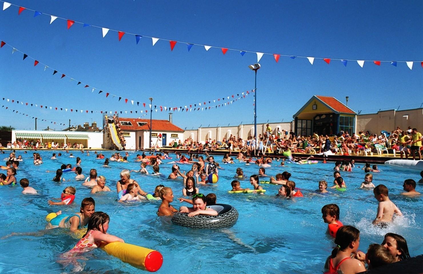 Swimmers enjoying the sun