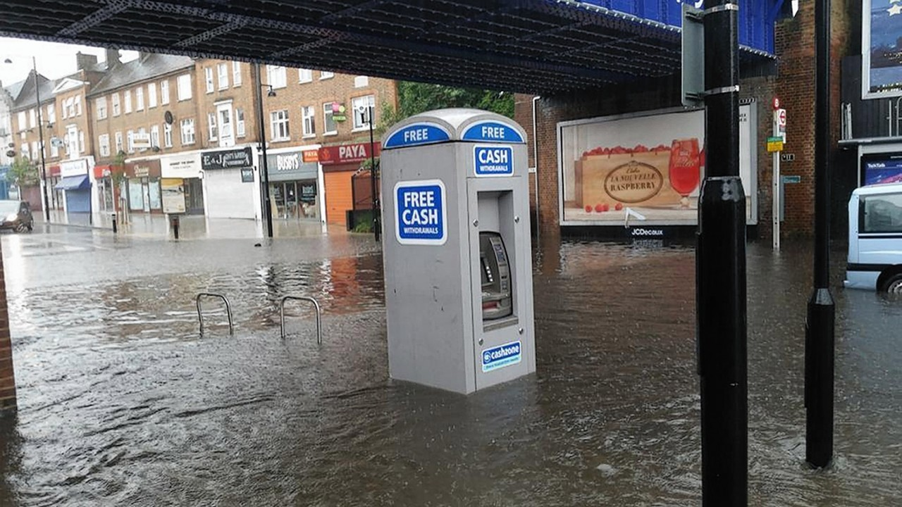 Photo taken from the Twitter feed of @souvikdash with permission of  flooding at Ruislip train station as storms hit the Hove, Brighton and Worthing areas of Sussex at the start of the morning rush-hour