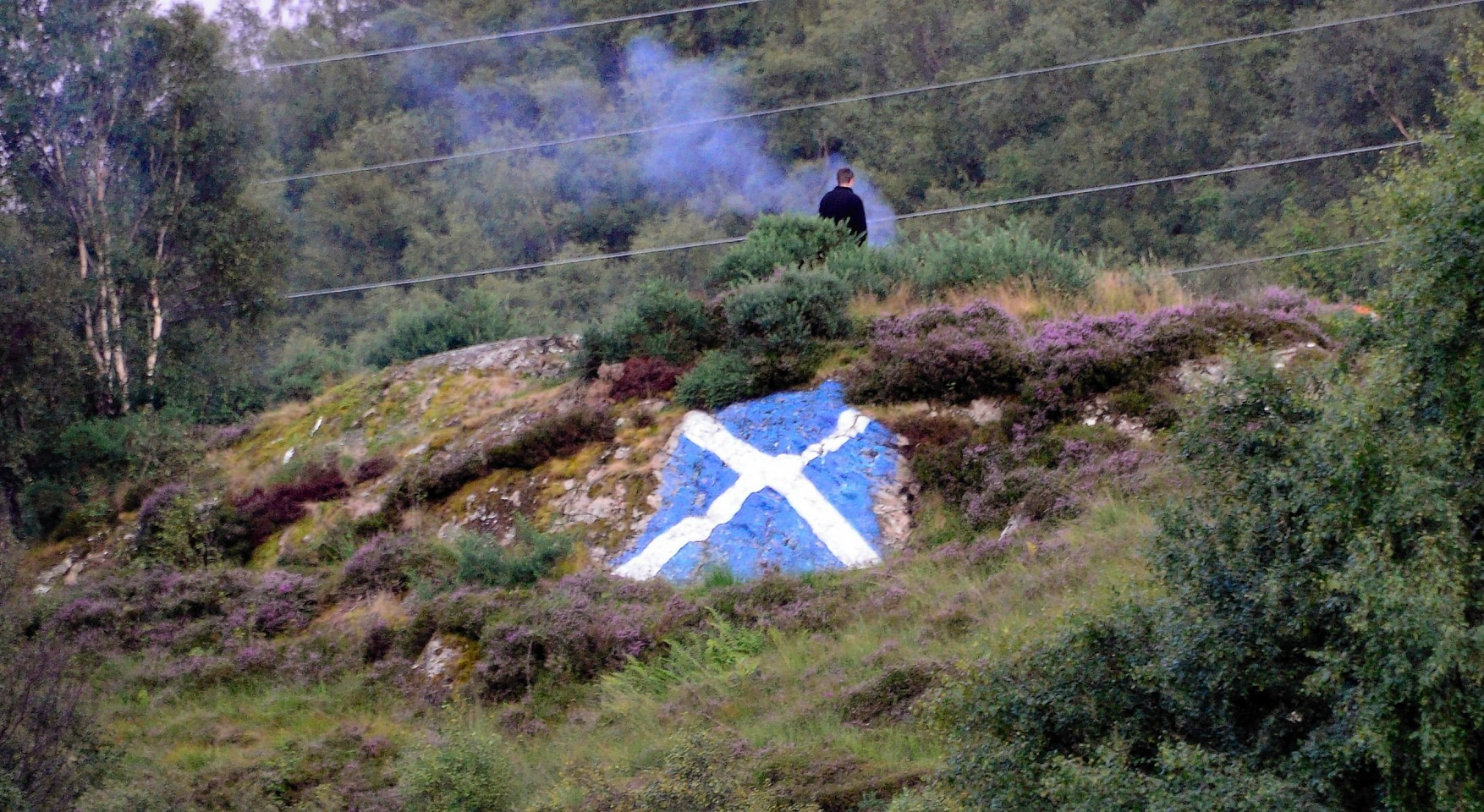 The Saltire painted on The Sugar Loaf before it was painted out