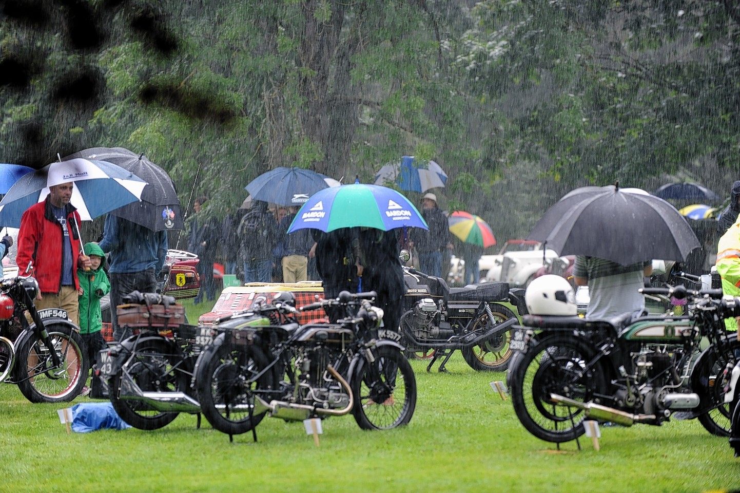Rain falls on the show at Brodie Castle